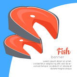 Fish Banner. Healthy Food Concept. Vector. Fish banner. Healthy food concept. Organic natural food. Consumption of high quality nourishment food. Part of series Stock Photo