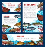 Fish banners set for fishing sport design. Fish banners for fishing sport. Fresh fish sketch poster and flyer with salmon, perch, trout, tuna, carp, flounder Royalty Free Stock Images