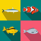 Fish banners set, flat style Stock Photos