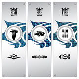 Fish banners. Three variations of fish banners with different geometrical designs, these templates are ideal for web banners, eps 10, contain transparencies Royalty Free Stock Photography