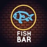 Fish bar neon lights. Icon vector illustration graphic design Stock Photography
