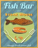 Fish bar retro poster. Fish bar steak house retro vintage grill restaurant poster vector illustration Royalty Free Stock Image