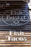 Fish Basket mobile fish bar food truck logo. Fish Basket food truck serving fish tacos to customers in Seattle Washington Royalty Free Stock Photography