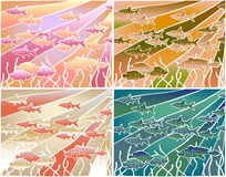 Fish batik. Four color versions of an editable  illustration of fish in batik style Royalty Free Stock Photography