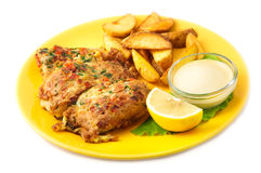 The fish batter with sauce Royalty Free Stock Images