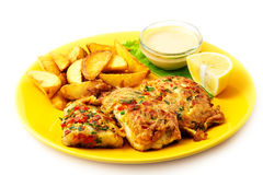 The fish batter with sauce Stock Images