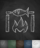Fish bbq icon. Hand drawn vector illustration Stock Photography