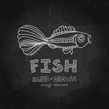 Fish with beautiful tail. Hand. Vintage Fishing Label and Stamp. Fish with beautiful tail. Hand drawn design element in chalkboard style. Guppy fish (Poecilia Royalty Free Stock Images