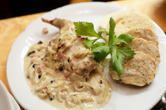 Fish with bechamel sauce onions Stock Image