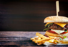 Fish and beef burger royalty free stock photography