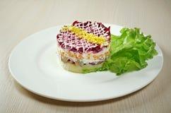 Fish and beets  salad Royalty Free Stock Photo