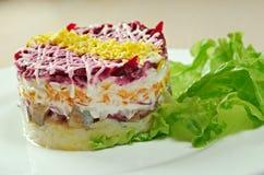 Fish and beets  salad Stock Photo