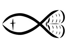 Fish, bible, cross and heart, Christian symbols.  Stock Photos