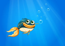 A fish with a big mouth under the ocean. Illustration of a fish with a big mouth under the ocean Stock Images