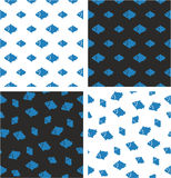 Fish Big & Small Aligned & Random Seamless Pattern Blue Color Set. This image is a illustration and can be scaled to any size without loss of resolution Stock Images