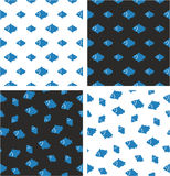 Fish Big & Small Aligned & Random Seamless Pattern Blue & White Color Set. This image is a illustration and can be scaled to any size without loss of resolution Stock Photography