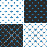 Fish Big & Small Seamless Pattern Blue Color Set. This image is a illustration and can be scaled to any size without loss of resolution Stock Photos