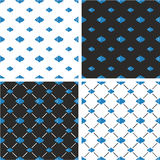 Fish Big & Small Seamless Pattern Blue & White Color Set Stock Photos