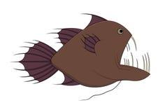 Fish with big teeth. Illustration of a brown fish with big teeth Stock Photos