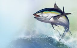 Tuna jumps out of the sea. black fin tuna royalty free illustration