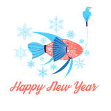 Fish and bird floating. In the snowflakes  illustration Happy New Year Royalty Free Stock Photos