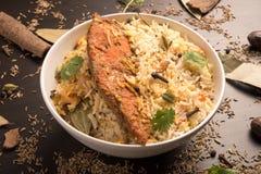 Fish Biryani in a white bowl Royalty Free Stock Photography