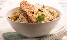 Fish Biryani in a white bowl. Royalty Free Stock Images