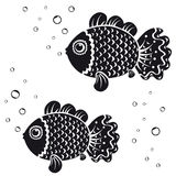 Fish black. Black and white illustration vintage silhouette fish Royalty Free Stock Images