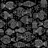 Fish black background. Seamless sea pattern with white outlines on a black background Royalty Free Stock Photography