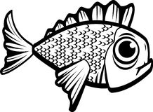 Fish Black and White. A black and white illustration of a fish Royalty Free Stock Photos