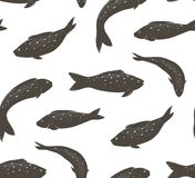 Fish Black and White Seamless Pattern Stock Photos