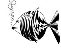 Fish blowing bubbles. On the vector illustration is fish that exhaled air bubbles. The illustration is black and white Stock Photos