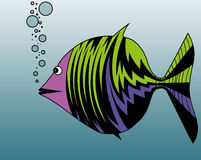 Fish blowing bubbles. On the vector illustration is fish that exhaled air bubbles. The illustration is color Royalty Free Stock Photo