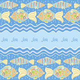 Fish blue background. Marine seamless pattern of horizontal waves with fish on a blue background Royalty Free Stock Image