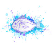 Fish on a blue background. White paper fish on a blue abstract background Stock Photo