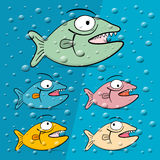 Fish in Blue Bubble Water. Vector Illustration Stock Photography