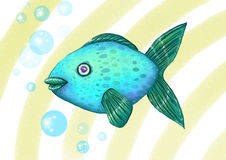 Fish. Blue fish and bubbles, illustration Stock Photo