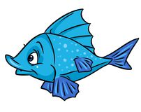 Fish blue cartoon. Illustration isolated animal character Royalty Free Stock Images
