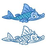 Fish blue  cartoon Illustrations. Fish blue   cartoon Illustrations isolated image animal character Stock Photography