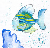 Fish with blue coral - watercolor painted illustration. Coral reef painting. Striped coral fish in cartoon style with black ink outline. Sea life with animal Stock Photos