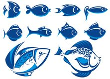 Fish blue icons. Set of vector fish blue icons Stock Images