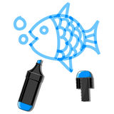 Fish and blue marker. Fish drawn by marker minimalistic vector illustration Stock Images