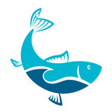 Fish blue symbol. For vector Stock Photography