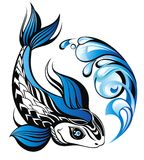Fish in blue water. Pisces astrology zodiac sign for your design Royalty Free Stock Photography