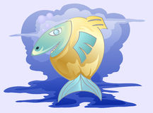 Fish and blue water background. Illustration of imagination fish in blue water background Royalty Free Stock Photo