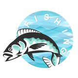 Fish and blue waves. Symbol for fishing Stock Image
