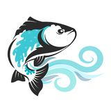 Fish on blue waves silhouetted. Fish on blue waves silhouette for fishing Royalty Free Stock Photography
