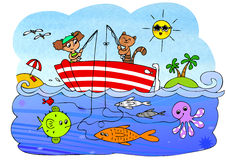 Fish boat game for children. Maze game for little children about fishing. Find the path. Digital illustration Royalty Free Stock Photo