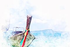 Free Fish Boat In Ocean And Mountain Range On Watercolor Illustration Painting Background. Stock Images - 171315734