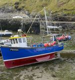 Fish boat at low tide, Boscastle, Cornwall Royalty Free Stock Image